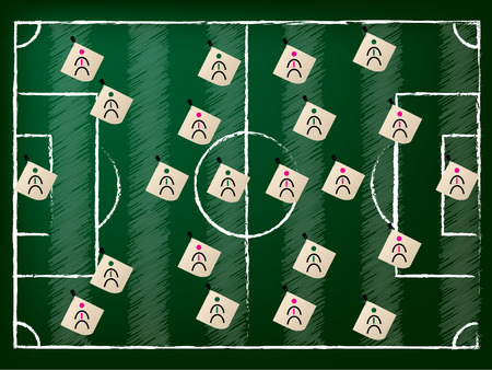 soccer coach: Football field illustration with 2 team setup