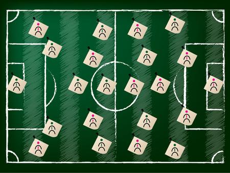 soccer coach: Football field illustration with 2 team setup