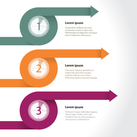 Curling arrows infographic template with countdown gradation Vector