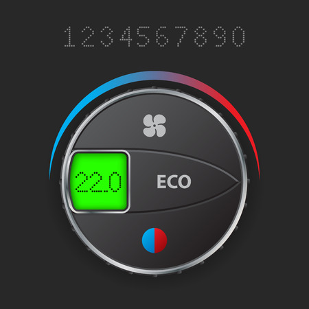 high temperature: Air condition control with editable lcd screen Illustration
