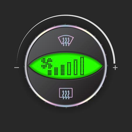 recirculate: Air flow control gauge with green digital display