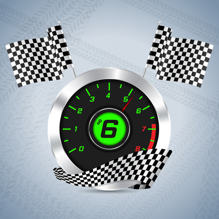 rpm: Rev counter with checkered flag and tire track background Illustration
