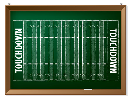 touchdown: American football field drawn by hand on chalkboard