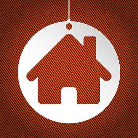 white house: White house label on striped orange background
