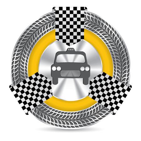 tread: Metallic taxi badge design with tire tread circle and checkered ribbon Illustration