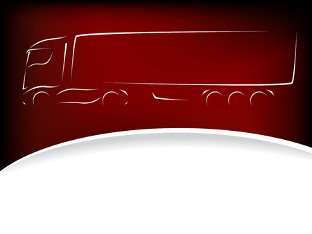 18 wheeler: Abstract truck silhouette design on red background