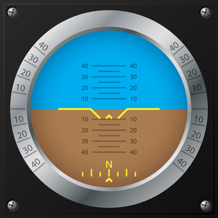 cockpit: Attitude indicator design on screwed black plate for airplanes