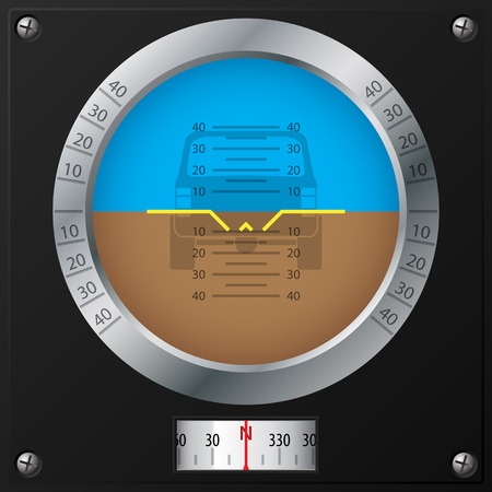 Attitude indicator design on screwed black plate Vector