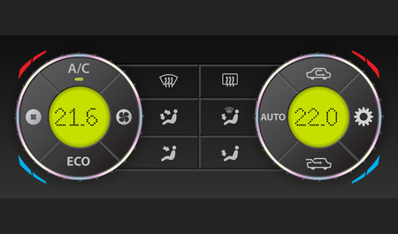conditioning: Digital air condition dashboard with complete control and dual ac Illustration
