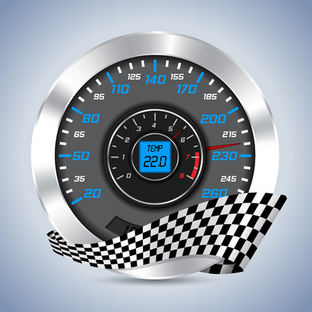rotations: Speedometer with rev counter and checkered ribbon