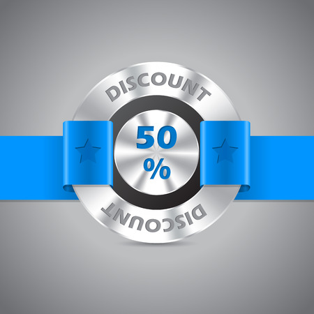 awarding: Discount sale metallic badge with blue ribbon