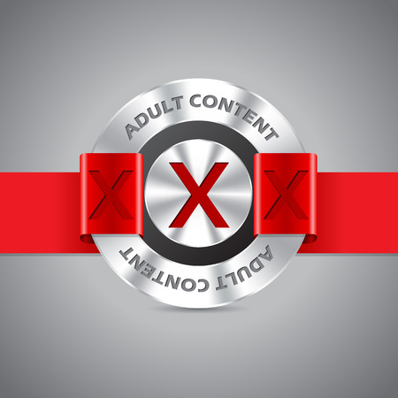 pornography: Metallic badge with adult content inscription and red ribbon