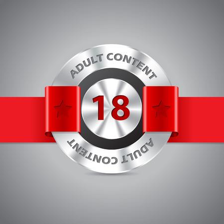 pornografia: Adultos insignia advertencia de contenido con la cinta roja y el rojo 18 n�mero