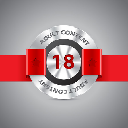 Adult content warning badge with red ribbon and red 18 number Illustration