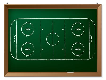 rink: Ice hockey field drawn by hand on chalkboard