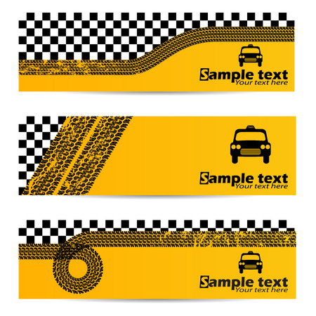 tire shop: Various taxi tire banner set of 3 Illustration