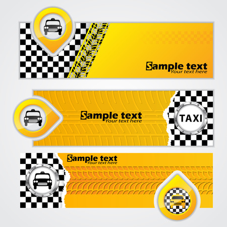 Various taxi company banner set of 3 Vector