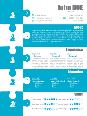 curriculum vitae: Puzzle resume design in turquoise and white colors