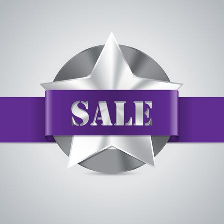 awarding: Star shaped metallic sale badge with purple ribbon