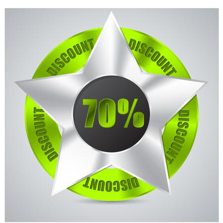 awarding: Green metallic badge with 70% discount text