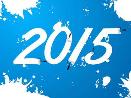 behang blauw: Blauw behang met witte 2015 tekst en ploetert Stock Illustratie