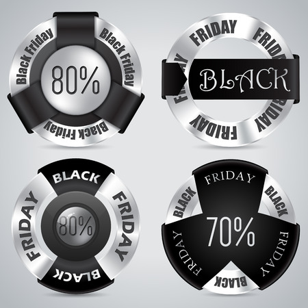 Black friday badge set of 4 with black ribbons and shiny metallic rings Vector