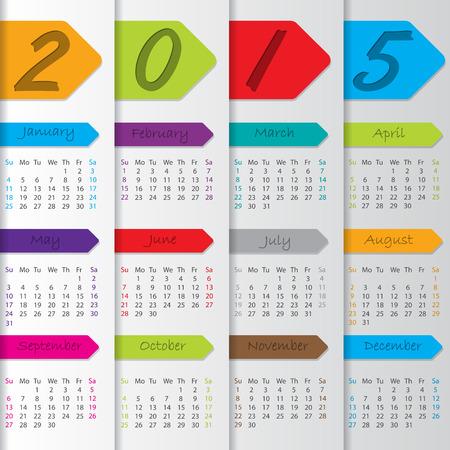 red ribbon week: Arrow ribbon calendar design for the year 2015