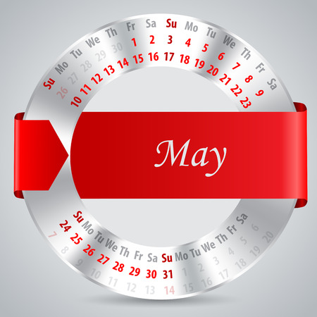 red ribbon week: 2015 calendar design with metallic ring and ribbon - may month
