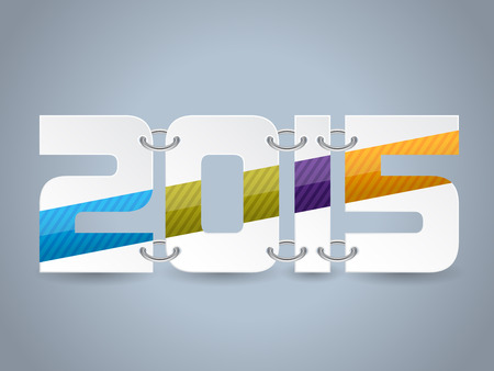 Year 2015 text with striped colors and chains Vector