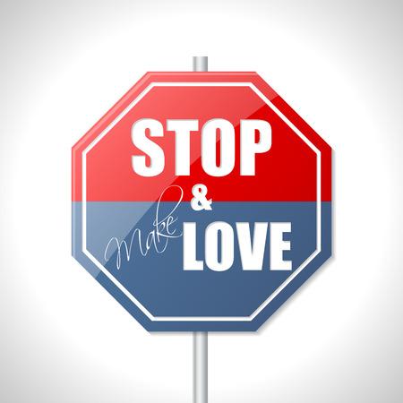 hacer el amor: Deje de hacer el amor y se�al de tr�fico bicolor Vectores