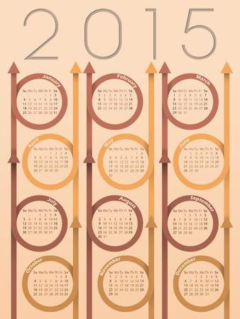 red ribbon week: 2015 ribbon arrow calendar design with light background