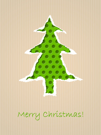 Ripped paper christmas card design with dotted green tree Vector