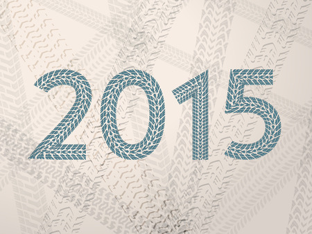 Year 2015 text with grunge tire tracks Vector