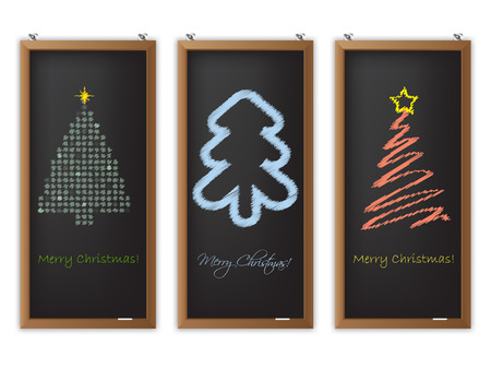 Christmas label set of three with scribbled christmas tree shapes Vector