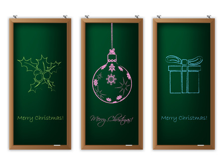 oink: Christmas label set of three with scribbled christmas decorations Illustration