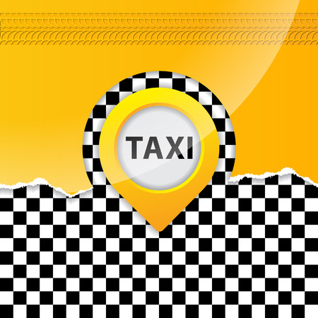 Abstract taxi background with ripped paper and gps pointer Vector