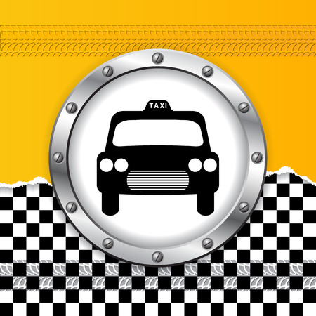 Abstract taxi background with ripped paper and metallic icon Vector