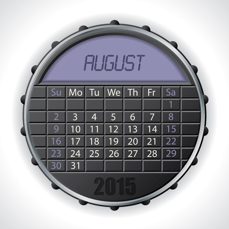 electronic organiser: 2015 august calendar design with color lcd display Illustration
