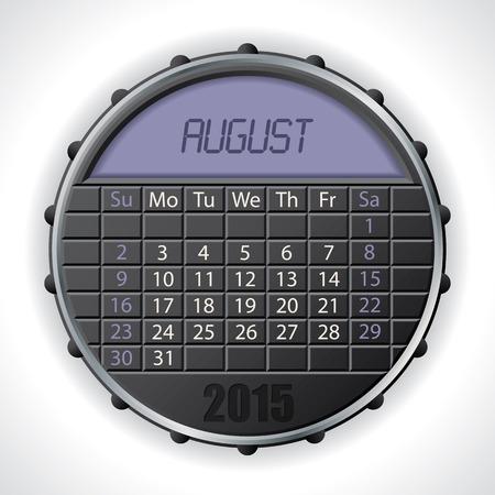 august calendar: 2015 dise�o de calendario de agosto con pantalla a color LCD