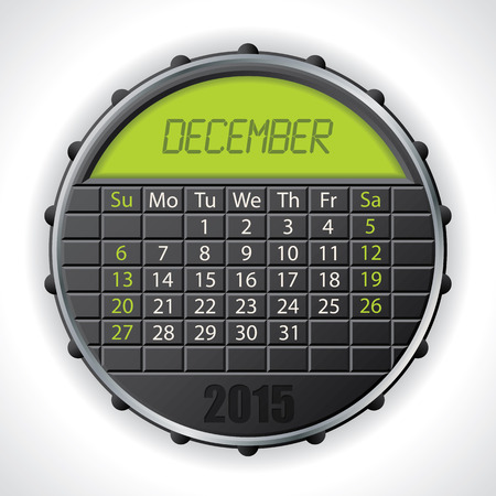 electronic organiser: 2015 december calendar design with color lcd display