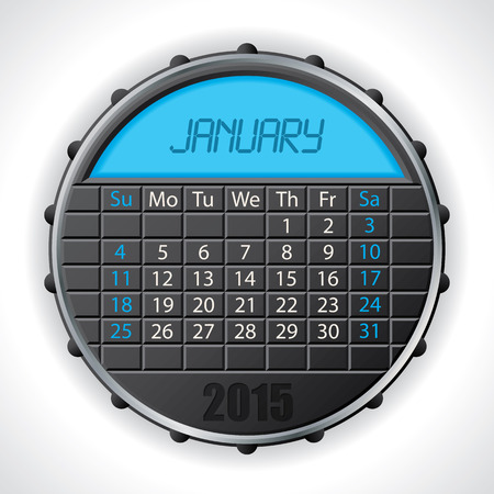 2015 january calendar design with color lcd display Illustration