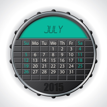 electronic organiser: 2015 july calendar design with color lcd display Illustration