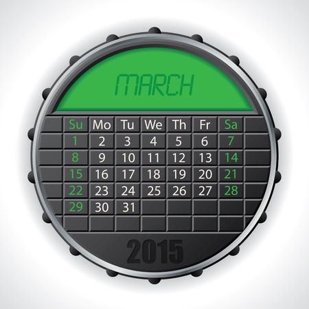 lcd: 2015 march calendar design with color lcd display Illustration