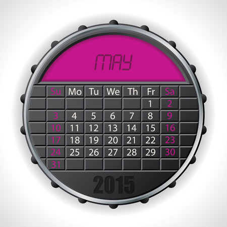 2015 may calendar design with color lcd display