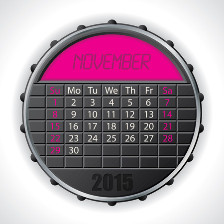 november calendar: 2015 november calendar design with color lcd display Illustration