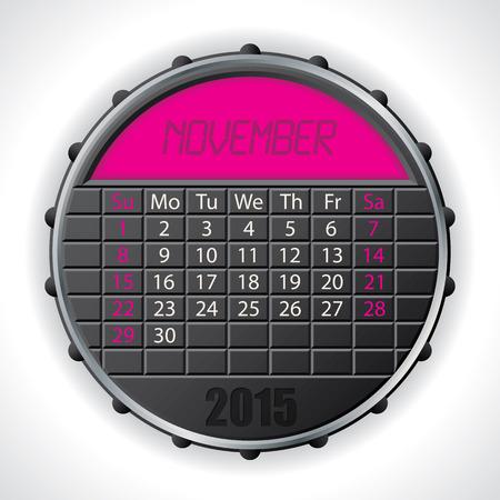 electronic organiser: 2015 november calendar design with color lcd display Illustration