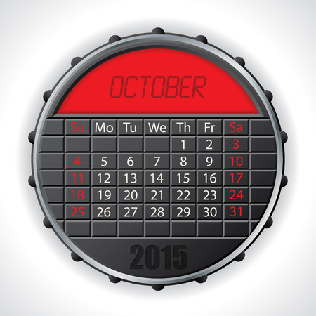 2015 october calendar design with color lcd display Vector