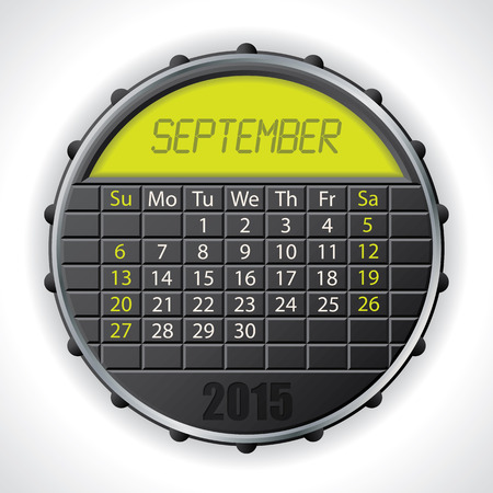 september calendar: 2015 september calendar design with color lcd display Illustration