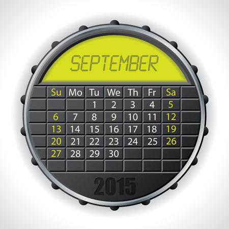 calendario septiembre: 2015 septiembre dise�o del calendario con pantalla a color LCD
