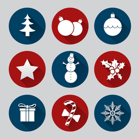 winter solstice: Christmas icon set of nine flat style